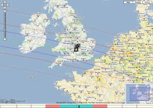 (106) Dione map prediction (centre line green, predicted shadow between blue lines, telescope is my location)